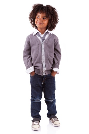 american children: Portrait of a cute african american little boy, isolated on white background