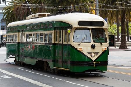 trams: Green Trolley -  Public transportation in San Francisco California - USA