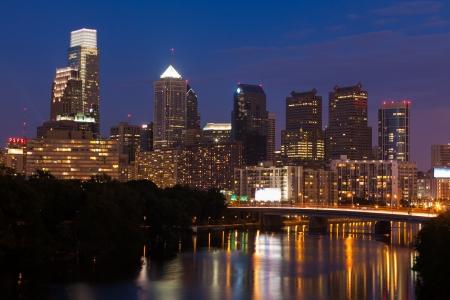 philadelphia: Night view of the Philadelphia skyline in pensylvania