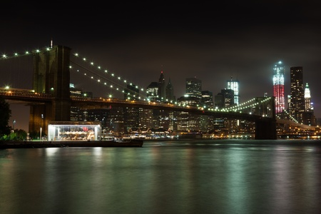 Manhattan skyline by night from Brooklyn bridge park - USA