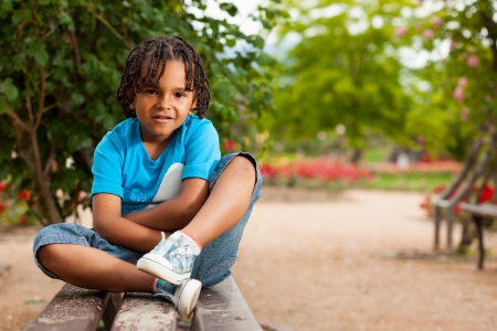 diversity children: Outdoor portrait of a cute african american little boy Stock Photo