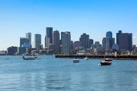 water scape: Boston skyline from East Boston, Massachusetts - USA