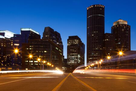 Boston streets by night, Massachusetts - USA photo
