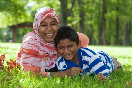 Outdoor portrait of indian brother and sister Stock Photo - 15489277