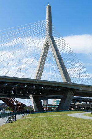 revere: Zakim bridge from Paul Revere park in Boston, Massachusetts - USA