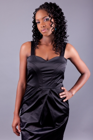 braids: Young beautiful African amercian woman posing Stock Photo