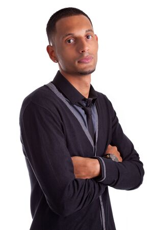 Portrait of a young african american man with folded arms, isolated on white background Stock Photo - 15896332