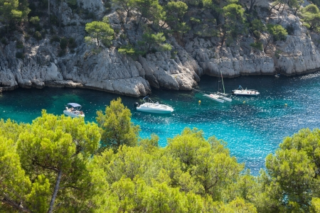inlet bay: Moored boats in the  Calanques of Port Pin in Cassis  in France Stock Photo