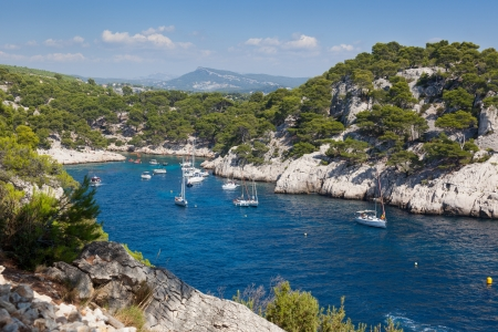 pine creek: Moored boats in the  Calanques of Port Pin in Cassis  in France Stock Photo