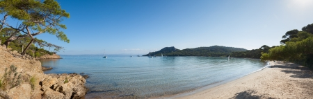 pinewood: Panoramic view of Notre Dame beach in Porquerolles island in south of  France
