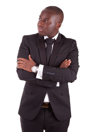 Young african business man with folded arms,isolated on white background photo