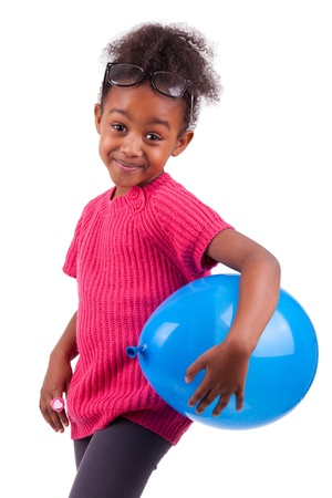 diversity children: Portrait of a cute young African American girl holding a blue balloon,isolated on white background