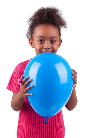 Portrait of a cute young African American girl holding a blue balloon,isolated on white background Stock Photo - 16116350
