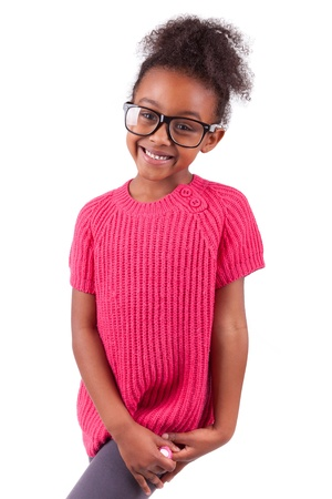 Portrait of a cute young African American girl,isolated on white background photo