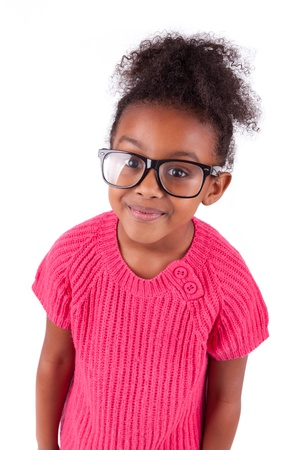 brazilian caribbean: Portrait of a cute young African American girl,isolated on white background