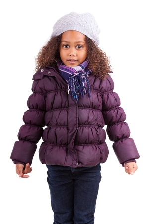 winter jacket: Little african asian girl wearing winter clothes,isolated on white background