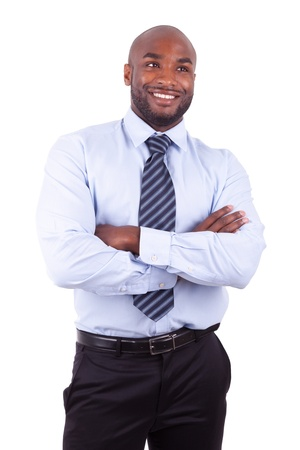 black businessman: African American business man  with folded arms, isolated on white background