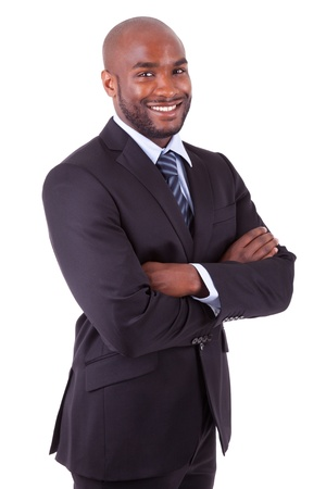 African American: Hombre africano negocios estadounidenses con los brazos cruzados, aisladas sobre fondo blanco Foto de archivo