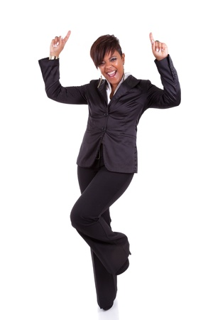Successful African American business woman, isolated on white background photo