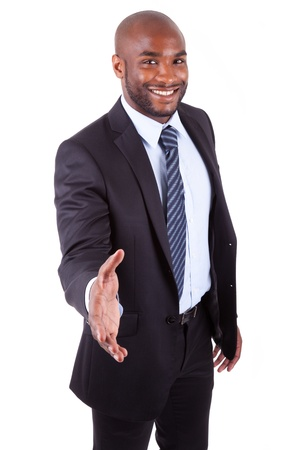 African American  businessman giving a hand,isolated on white background photo