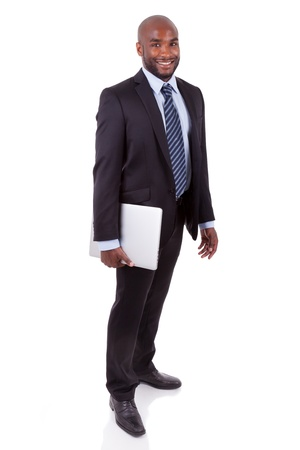 south african: African Amercian business manholding a laptopn, isolated on white background