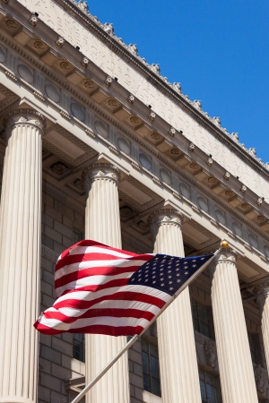 American flag in  the department of commerce building in Washington - USA photo