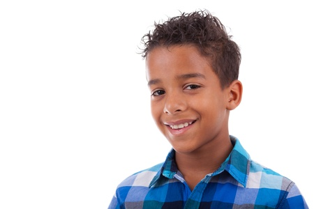 Portrait of a cute african american little boy, isolated on white background Stock Photo - 17055164