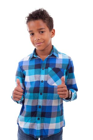 Portrait of a cute african american little boy making thumbs up, isolated on white background Stock Photo - 17055175
