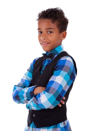 Portrait of a cute african american little boy with folded arms, isolated on white background Stock Photo - 17055170