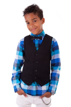 Portrait of a cute african american little boy, isolated on white background Stock Photo - 17055171