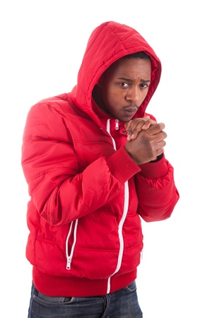 African American man wearing a winter coat, isolated on white background photo