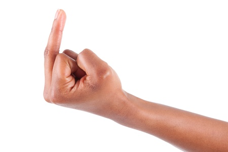 bad attitude: African American hand showing the middle finger,isolated on white background