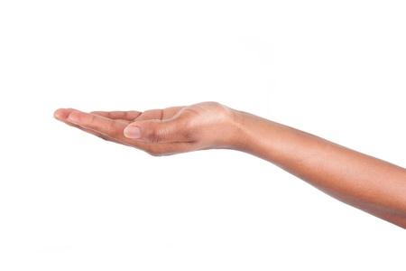 manos abiertas: African American mano de la mujer, aislados en fondo blanco
