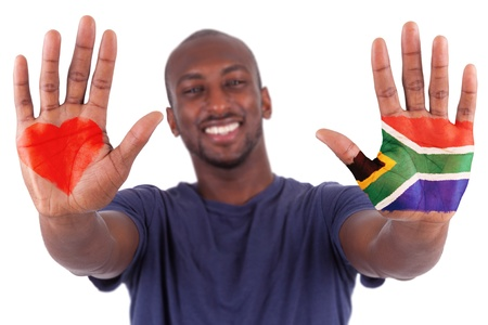 south africa flag: African man hands with a painted heart and south african flag, i love south africa concept, isolated on white background Stock Photo