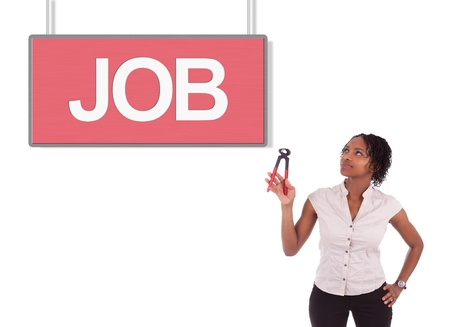 Young african american woman looking for a job, isolated on white background Stock Photo - 18035396