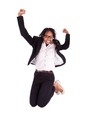 Young african american business woman jumping, success concept, isolated on white background Stock Photo - 18035392