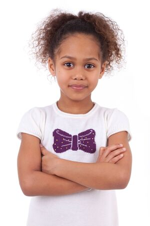 Cute little African Asian girl smiling ,with folded arms Stock Photo - 18351648