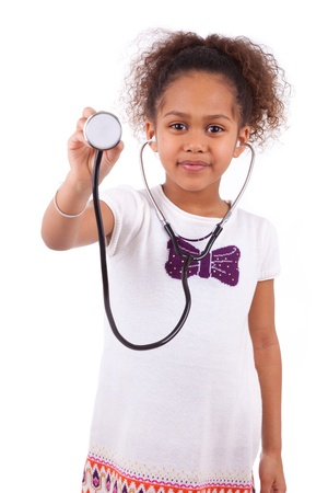 Young african asian girl holding a stethoscope, isolated on white background photo