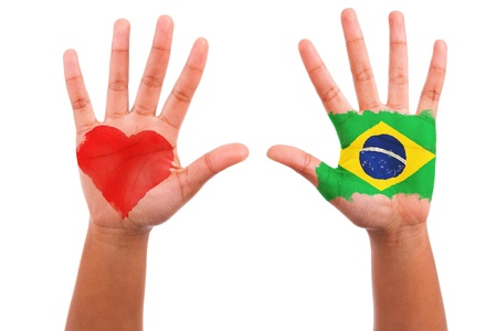 Brazilian hands with a painted heart and brazilian flag, i love brazil concept, isolated on white background photo
