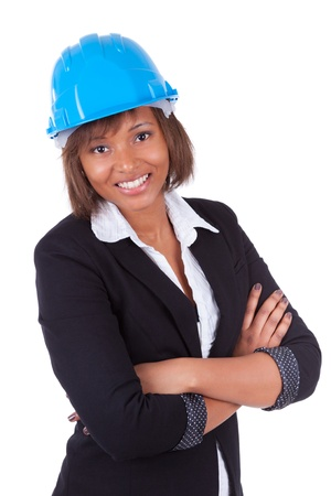 hardhat: Confident Black African American woman architect smiling with folded arms, isolated on white background