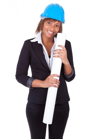 construction paper: Confident Black African American woman architect smiling with folded arms, isolated on white background