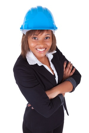 Confident Black African American woman architect smiling with folded arms, isolated on white background Stock Photo - 18970919