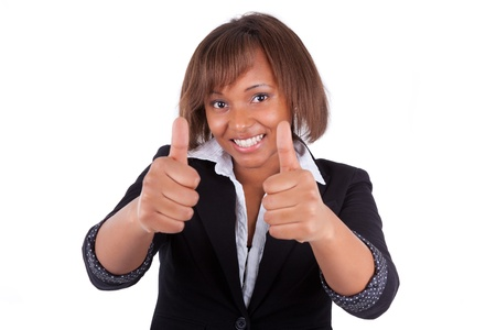 Smiling black african american business woman making thumbs up, isolated on white background Stock Photo - 18970916