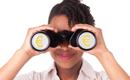 Young black   african american business woman using binoculars, isolated on white background Stock Photo - 18964674