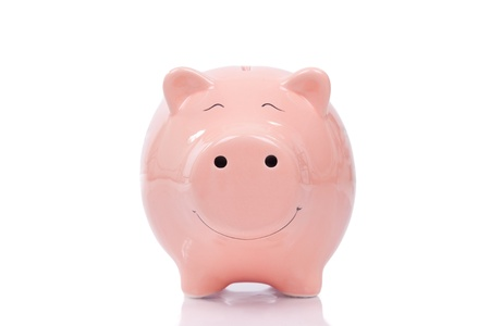 Smiling  Piggy bank isolated on white background photo