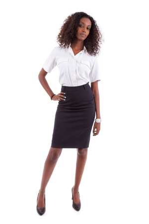 Young african american business woman, isolated over white background - african people photo
