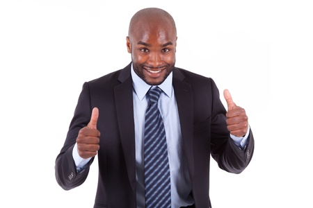 Black African American business manmaking thumbs up, isolated on white background - African people