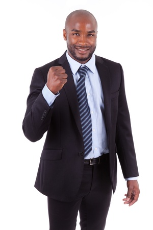 clenched: Black African American business man with  clenched fist, isolated on white background - African people