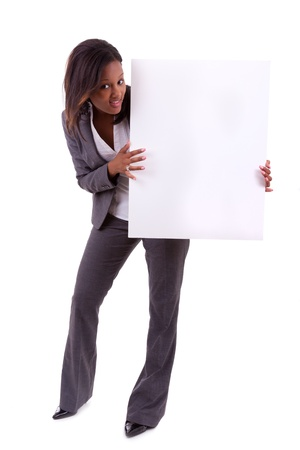 Young black African American woman holding a blank board, isolated on white background - African people photo