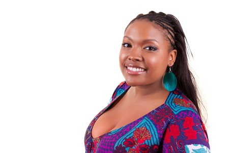 plus sized: Beautiful black African American woman smiling, isolated on white background - African people Stock Photo